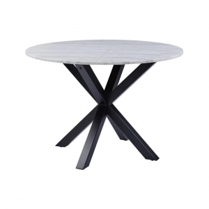 Eettafel Havaie - Marmer - Wit / Zwart - Ø 110cm