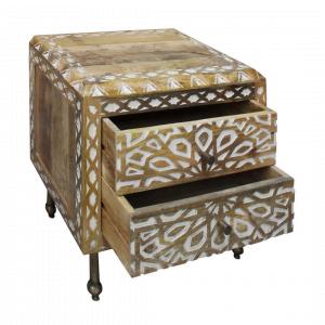 Ladenkast Deco – 2-Lades – Hout – Naturel / Wit