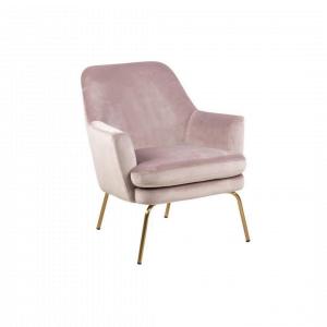 Fauteuil Chita - Velvet - Roze - Messing Onderstel