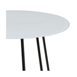Bijzettafel Acasia - Glas - Wit - Ø 40cm