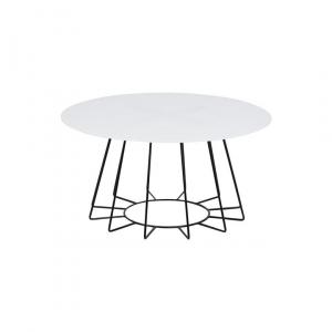 Salontafel Acasia - Glas - Wit - Ø 80cm