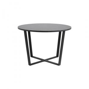 Eettafel Amir - Marmerlook Melamine - Zwart - Ø 110cm