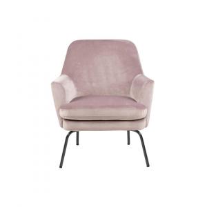 Fauteuil Chita - Velvet - Roze - Zwart Onderstel