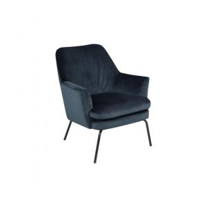 Fauteuil Chita - Velvet - Blauw - Zwart Onderstel