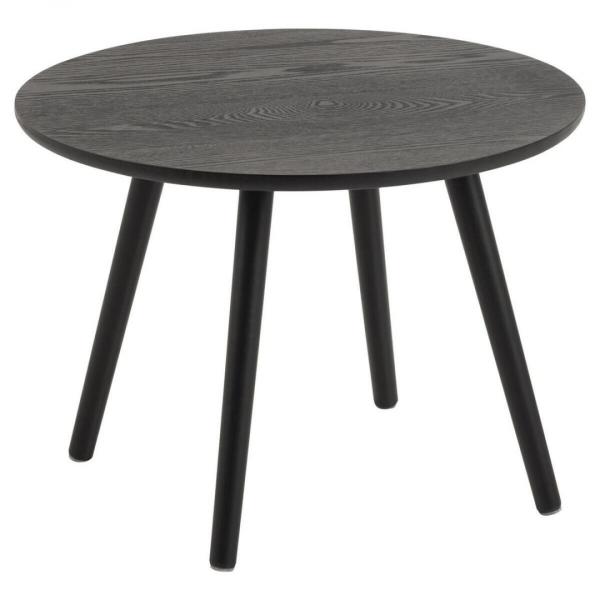 Bijzettafel Lemmord - Fineer Essen - Zwart - Ø 50cm