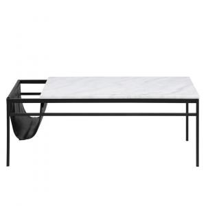 Salontafel Atabay - Marmer - Wit / Zwart - Rechthoek met krantenzak