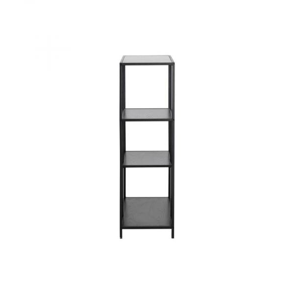 Boekenkast Simon - Melamine Essen - Zwart - 2 planken Asymmetrisch