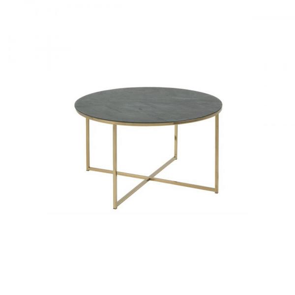 Salontafel Alisna - Marmerlook Glas - Groen / Messing - Ø 80cm