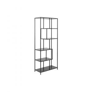 Boekenkast Simon - Melamine Essen - Zwart - 4 planken Asymmetrisch