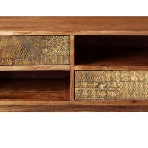 TV-meubel Brass Metal - 2-deurs – Acaciahout – Naturel