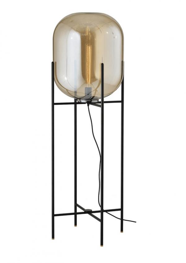 Industriële Vloerlamp Thorben (XL) – Cognac / Zwart