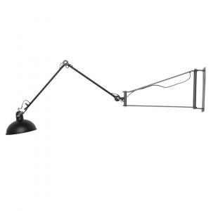 Industriële wandlamp Han XL – Zwart – Metaal