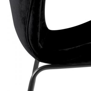 Eetkamerstoel Carisma - Velvet - Zwart (poten metaal zwart)