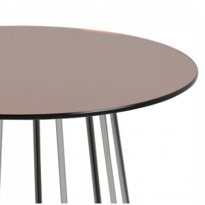 Bijzettafel Acasia - Spiegelglas - Brons / Chroom - Ø 40cm