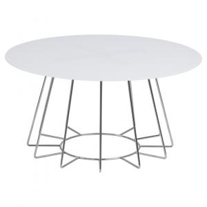 Salontafel Acasia - Glas - Wit / Chroom - Ø 80cm