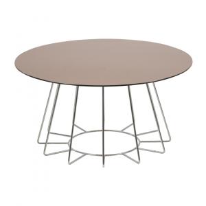 Salontafel Acasia - Spiegelglas - Brons / Chroom - Ø 80cm