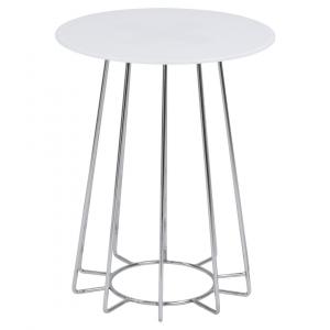 Bijzettafel Acasia - Glas - Wit / Chroom - Ø 40cm
