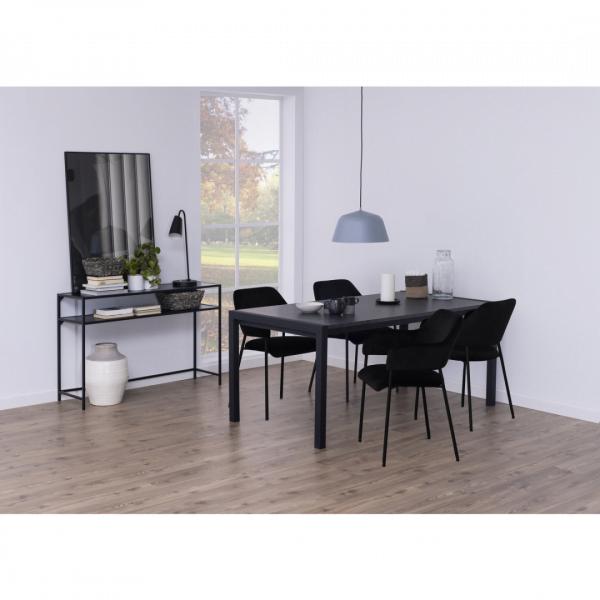 Eettafel Bikken - Melamine Marmerprint - Zwart